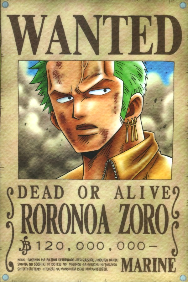 Zoro_From_One_Piece-1 Wanted Poster