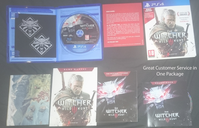 Witcher 3 PS4 Packaged in Box Filled with collectables, providing a great experience